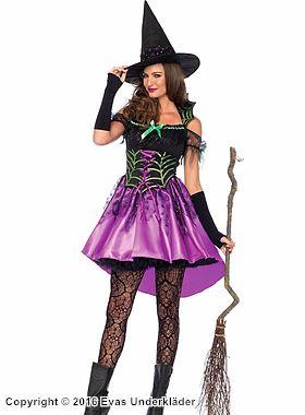 Häx-klänning med spindelnätsdetaljer, maskeraddräkt